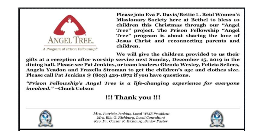Angel Tree @ Bethel AMEC (Sanctuary & Dining Hall)