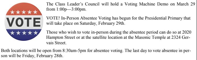 Absentee Voting In Progress!